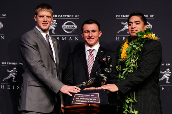 Collin Klein(Left)  Johnny Manziel(Middle)  Manti Te'o(Right)
